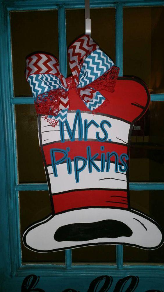 Dr. Seuss Hat Door Hanger by TheOnePerfectPiece on Etsy