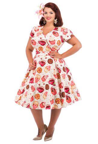 Lady Vintage Cupcake Estella Dress Cream Plus Size Rockabilly PinUp