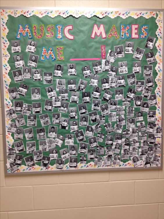"Music in Our Schools Month. Students finish sentence ""Music makes me__________"". Take their picture with their 'word' and wa-la! Great bulletin board that showcases your students's love for music!:"