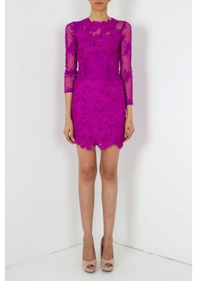 ARIANNA mesh and lace applique fitted dress- pink dress Becca ...