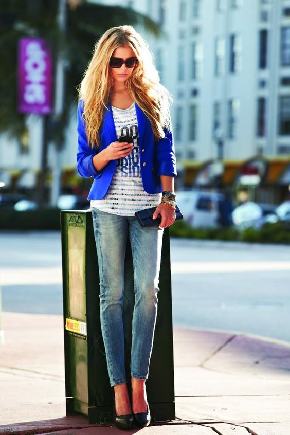 Urban chic, with the pairing of Point Zero's royal blue blazer ...