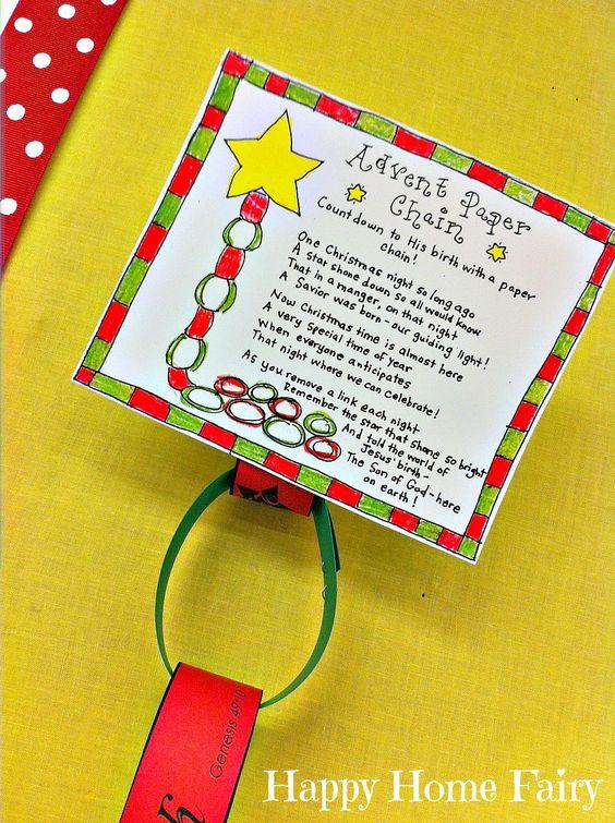 Advent Calendar Preschool : Advent paper chain countdown free printable each day
