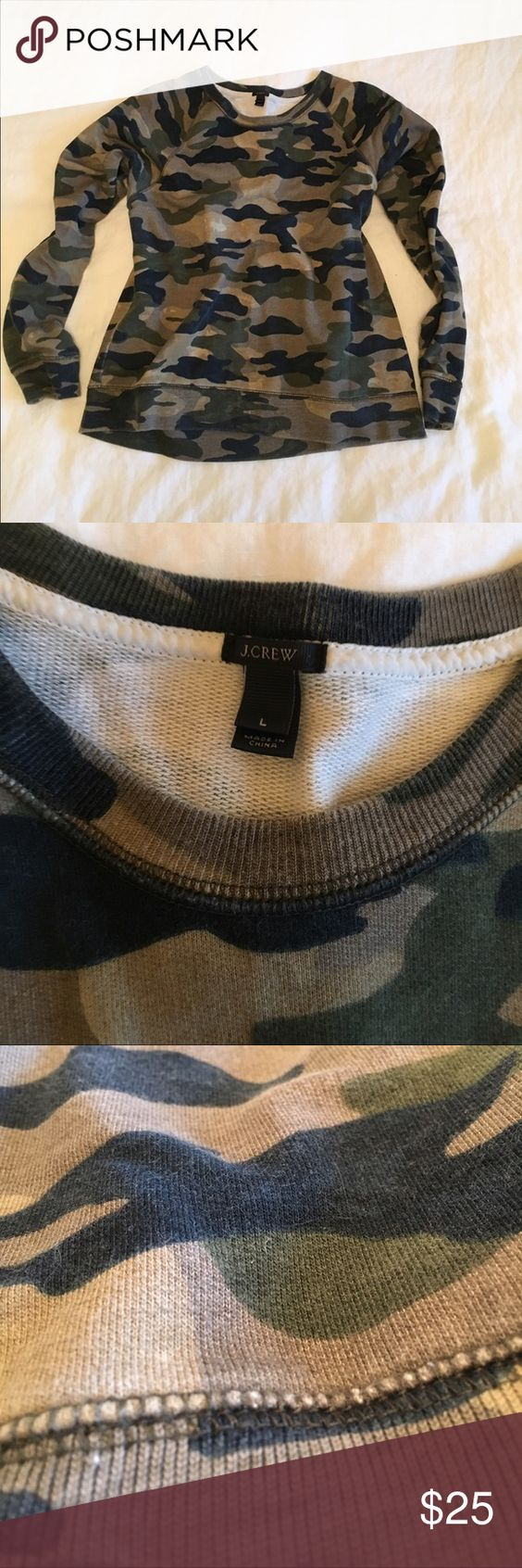 J.Crew Cotton Camo Sweatshirt So comfy & in great shape! Crew neck cotton Camo sweatshirt from J.Crew proper. No stains or visible sighs of wear. J. Crew Tops Sweatshirts & Hoodies