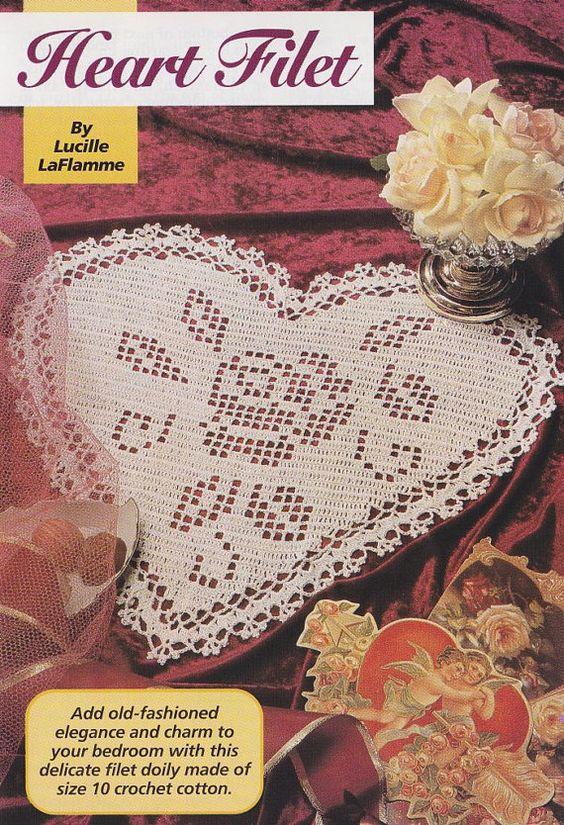 Heart Doily Crochet Pattern - Valentine\'s Day Decor - Filet ...
