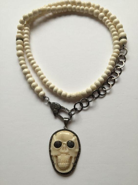 Bone Chain ,Bone Pave Diamond Skul.