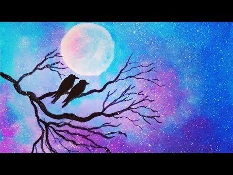 Moonlight Night Scenery Painting Acrylic Painting Ideas I Moonlight Ni Night Scenery Scenery Paintings Watercolor Paintings Easy