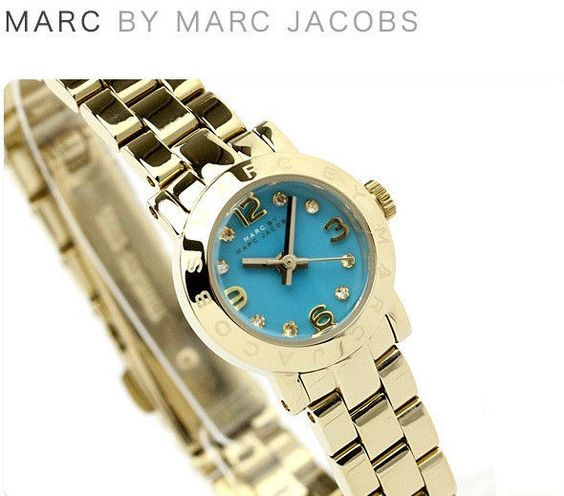 Heart this cute small wrap! Marc Jacobs Womens MINI Watch Bracelet Gold Blue Dial Swarovski /Box MBM3229 #MarcJacobs #Dress $129.77