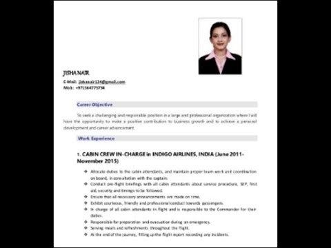 How To Properly Write A Cabin Crew Cv Cv Template Flight Attendant Resume Free Resume Template Word
