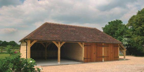 Oak Framed 4 Bay Garage With Oak Doors And Log Store