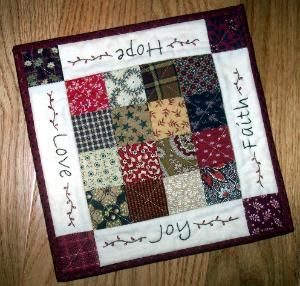 Joy_Quiltlet cute idea! I've been doing stitchery with patchwork around it, why not switch it out?