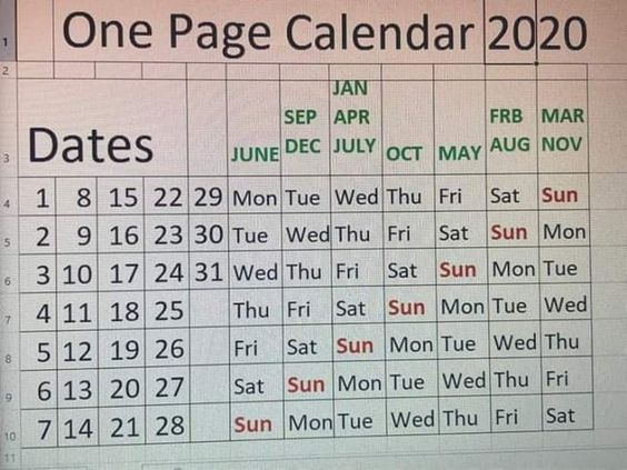 Found The One Page Calendar Of 2020 First Page Calendar Meme Calendar