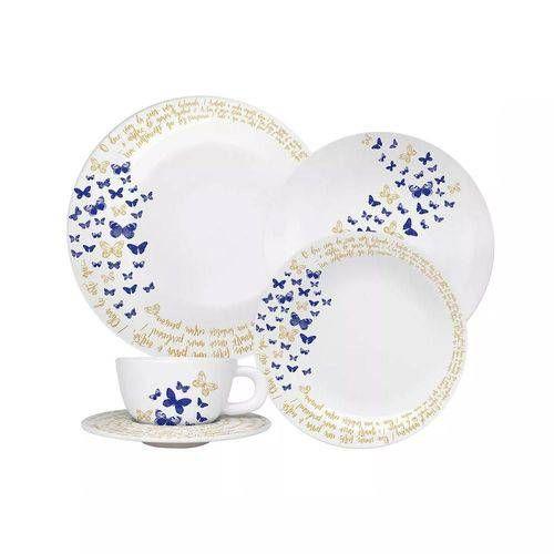 Aparelho De Jantar 30 Pecas Azul Porcelana Moon Gloria Oxford