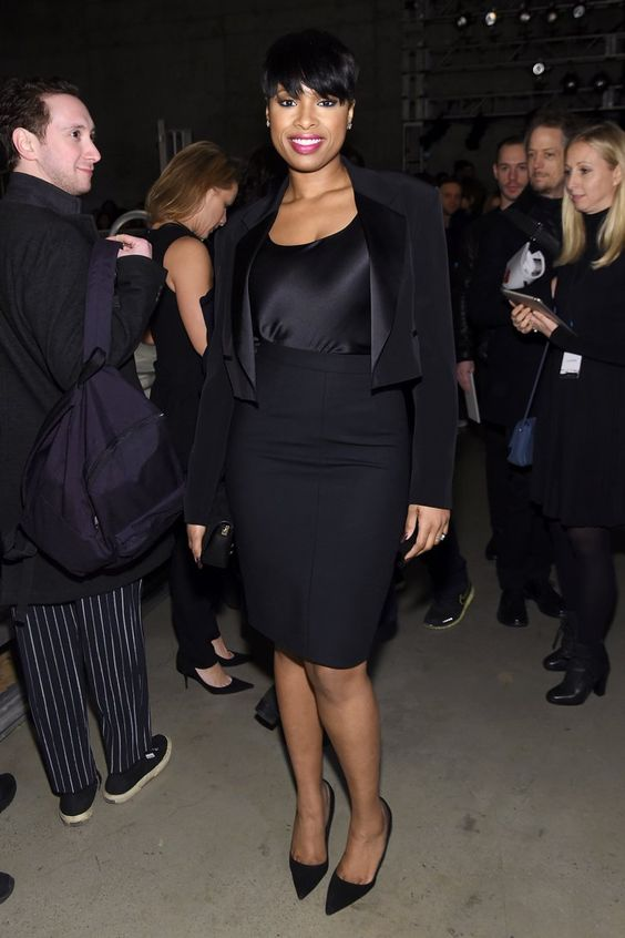 Pin for Later: Le Meilleur de la Fashion Week de New York Se Trouvait au Premier Rang Jennifer Hudson Au défilé DKNY.