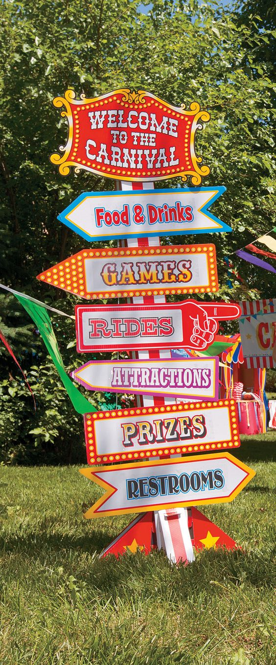 Big Top Directional Sign Point the way to food, fun and