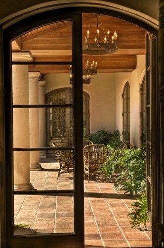 patio tile: Outdoor Chandelier, Porch Design, Mediterranean Porch, French Doors, Arched Doors, Dream House, Italian Villa, Gabriel Builders