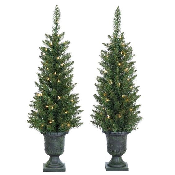 Sterling 3.5' Potted Norway Pine Artificial Christmas Tree - Set of 2, Multicolor