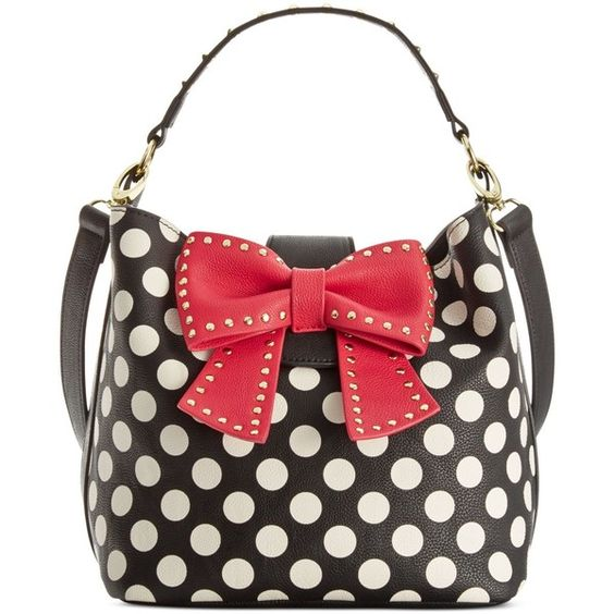 Betsey Johnson Hopeless Romantic Bucket Bag ($64) ❤ liked on Polyvore featuring bags, handbags, multi, betsey johnson bags, betsey johnson purses, betsey johnson, white bags and white handbags