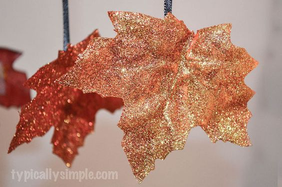 crafts glittered fall leaves, crafts, seasonal holiday decor