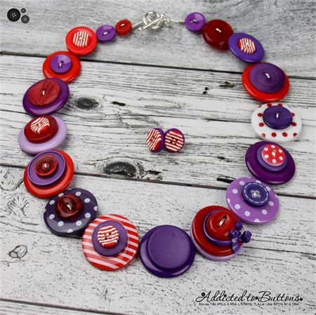 Red Hat Society - Red Purple - Hat Buttons Button Necklace - Earrings