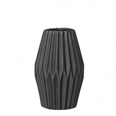 Bloomingville Vase Folded schwarz - moderne, geometrische Blumenvase aus Porzellan