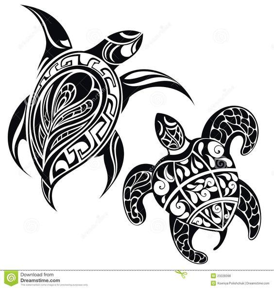 Tortuga Del Vector, Estilo Del Tatuaje Ilustración del Vector ...