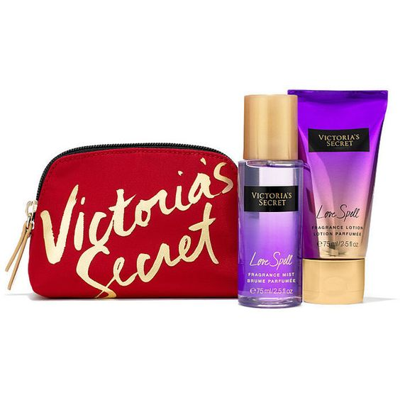 ผลการค้นหารูปภาพสำหรับ Victoria's Secret love spell Mini Gift Set found on Polyvore featuring beauty products and gift sets