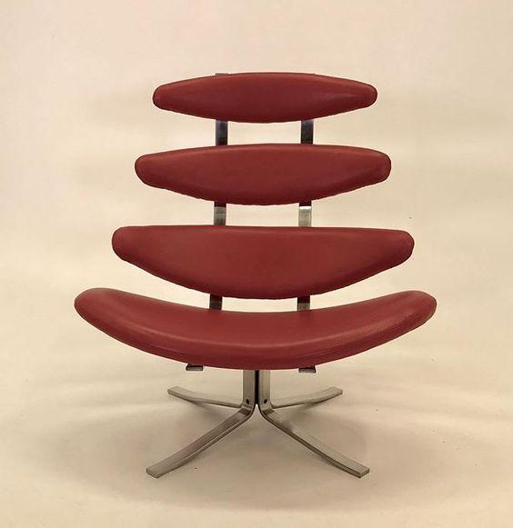 Vintage original #poulvolther #coronachair in new #edelman #redleather #360swivel