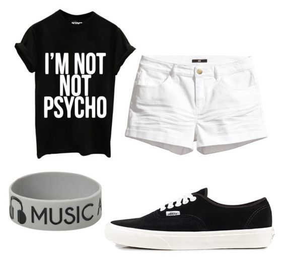 """Untitled #321"" by pinkunicorn007 ❤ liked on Polyvore featuring H&M and Vans"