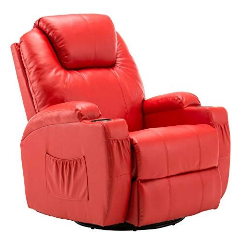 Mcombo 8031 Modern Massage Recliner Vibrating Sofa Heated Electric Leather Lounge Chair Red Lounge Chair Leather Lounge Chair Recliner