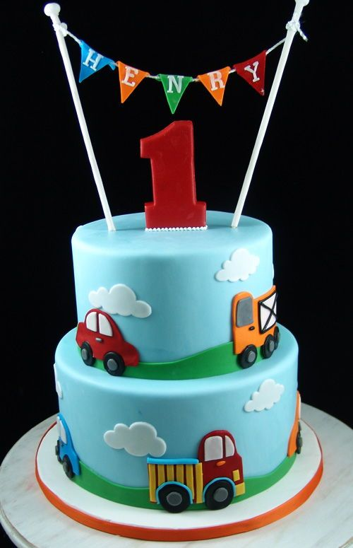 Cars Themed Birthday Cake First Birthday Cake With Cars Theme