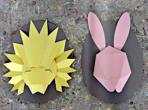 Masques en papier pour chambres d'enfants