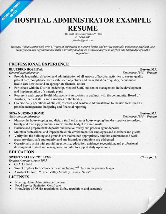 Hospital Administrator Resume (resumecompanion) #Medical - healthcare management resume