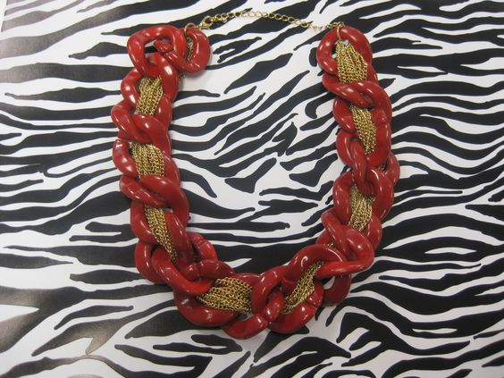 Red Chain with Gold Accents, available in black too!  $18