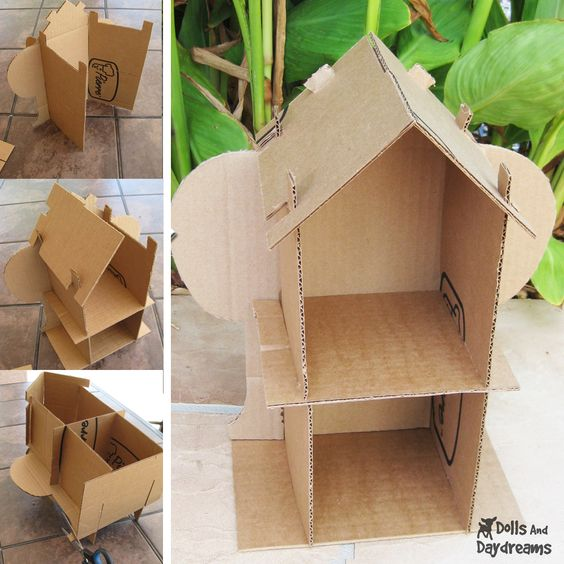 One pinner wrote: Recycle cardboard boxes using Sarah Hanson's eco-friendly dollhouse pattern. I'm thinking there's a construction lesson in this pin!: Cardboard House, Diy Dollhouse, Paper Craft, Friendly Dollhouse, Dollhouse Pattern, Cardboard Dollhouse