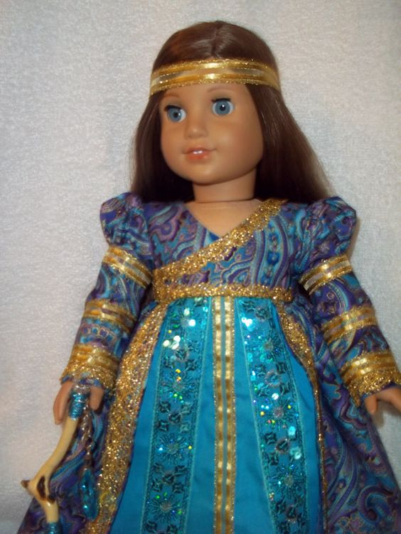"Renaissance Medieval Dress made for 18"" American Girl Doll Historical Regency Caroline Samantha Marie Grace"