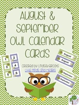 Free August / September Owl Calendar Cards and Headers (Back to School Theme)