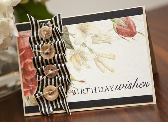 Beautiful card using beautiful new Carta Bella papers.  BirthdayWishes1: