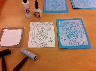 This blogger says that an almost 1:1 ratio of Crayola glue and acrylic paint are a good substitute for block printing ink.