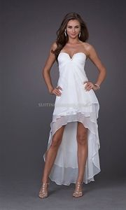 bridesmaids = like this, but black.    Sexy Chiffon White Strapless High-Low Prom Dress By La Femme 15033