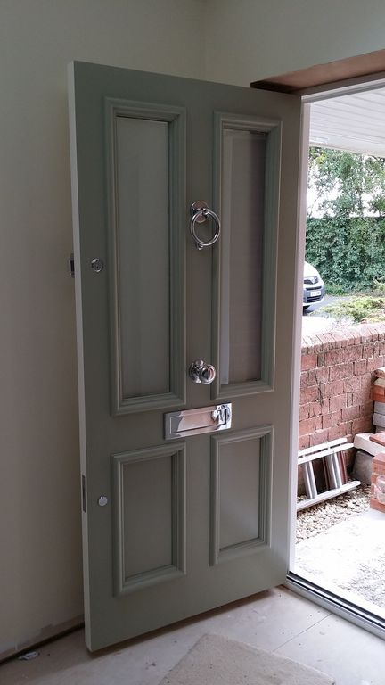 Victorian front door an farrow and ball blue grey www for Door furniture uk