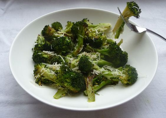 Roasted broccoli with lemon zest and parmasean