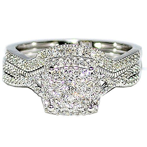 0.4ct Diamond Bridal Rings Wedding Set 10K White Gold Princess Cut Style Pave Halo - Jewelry For Her