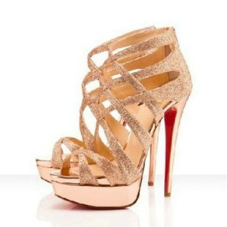 Christian Louboutin Balota 150 Glitter Platform Sandals Gold Red Bottom Shoes