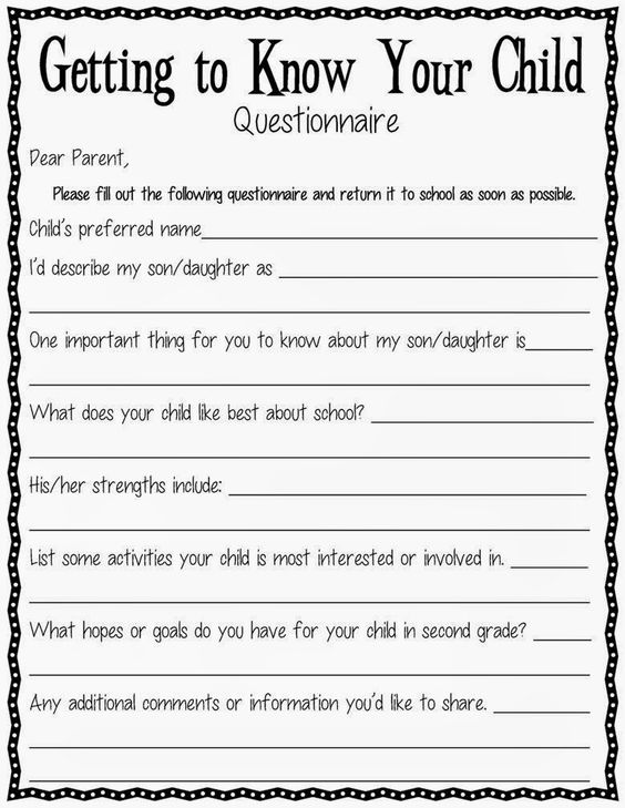 Classroom Design Survey : A getting to know your child questionnaire parents