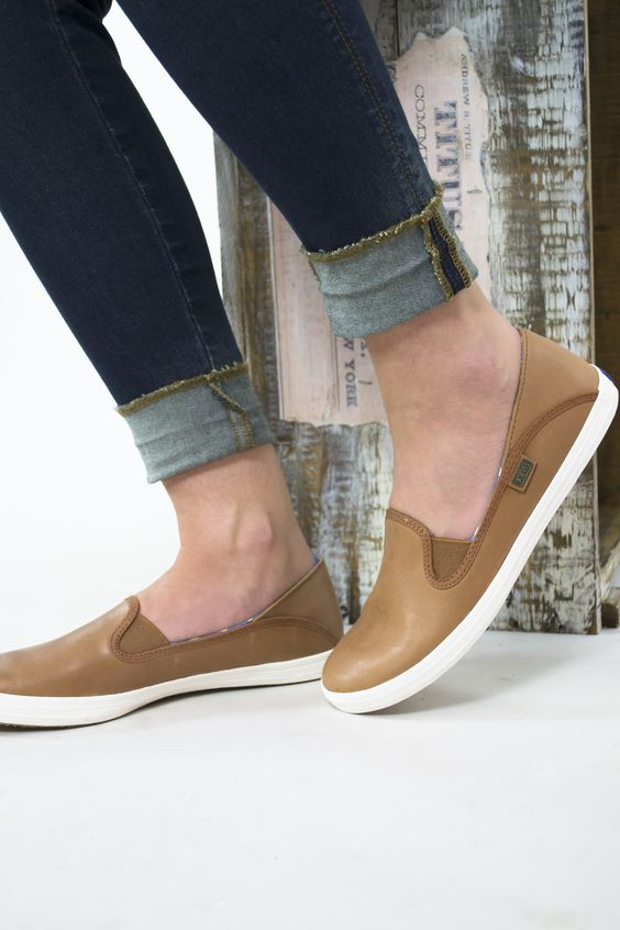 leather keds slip ons