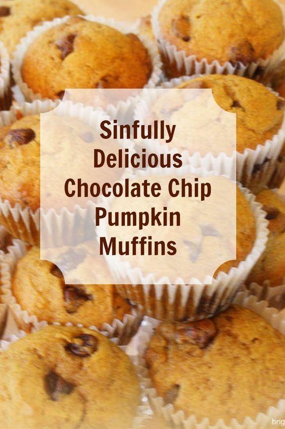 Get the recipe! Chocolate chip pumpkin muffins