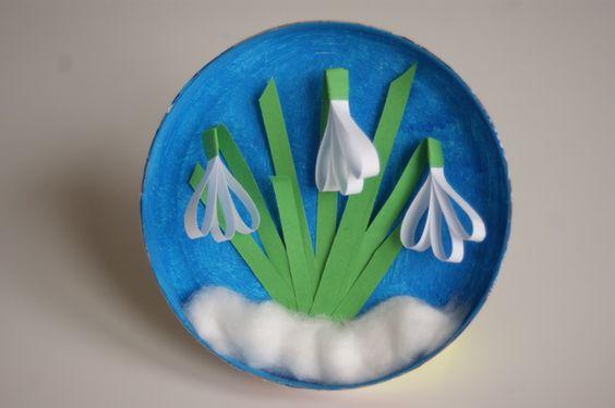 Przebiśniegi z paseczków papieru przestrzenna praca plastyczna dla dzieci  Snowdrops with strips of paper- craft for children: