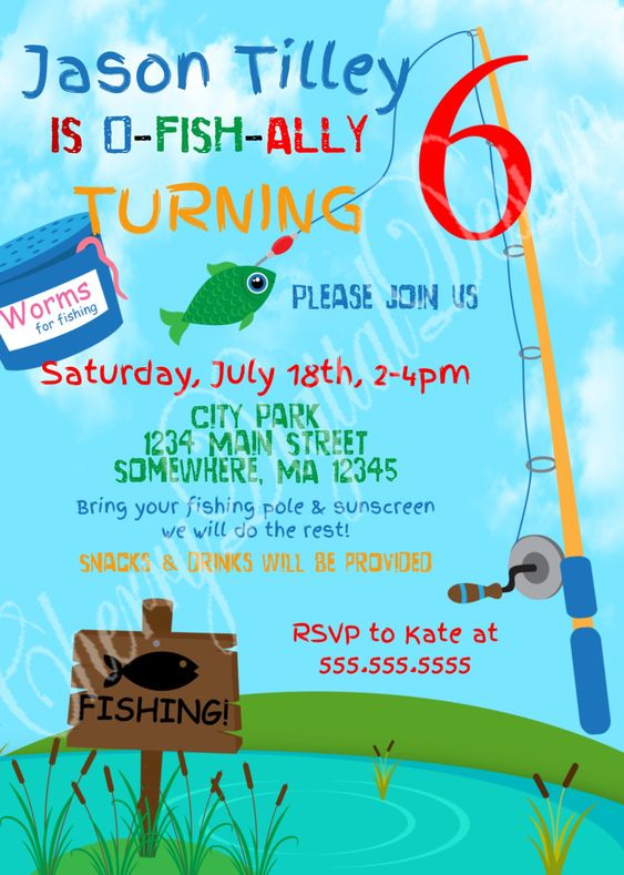 Printed or printable fishing themed birthday invitation for Fishing first birthday