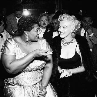 """Sometimes doing the 'right' thing is a brave deed. kn  The 50s Mocambo nightclub wouldn't  book Ella Fitzgerald because she was black. Ella had a powerful & unlikely benefactor, Marilyn Monroe. """"I owe Marilyn a debt. Because of her I played there. She called the owner, & told him she wanted me booked immediately. She took a front table every night. The press went crazy. I never had to play a small jazz club again. She was a woman, ahead of her time & she didn't know it."""" Ella Fitzgerald"""