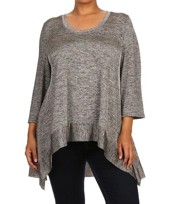 Seven Karat Gray Contrast Hi-Low Tunic - Plus by Seven Karat #zulily #zulilyfinds